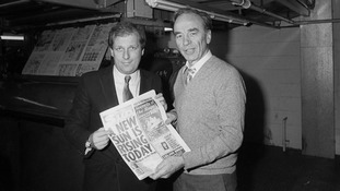 Kelvin MacKenzie with Rupert Murdoch at the opening of a new printing press in Wapping in 1986