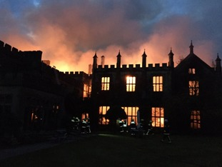 Parnham House in Dorset engulfed by flames.