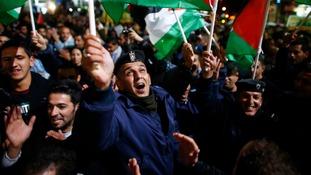 Palestinians celebrate