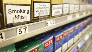 Cigarettes on display in a shop in Glasgow.