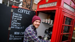 'Britain's smallest cafe' opens in a phone box