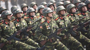 Soldiers during Saturday's missile parade in North Korea.