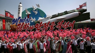 A missile float which was part of the parade in North Korea on Saturday.