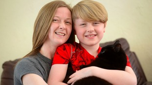 Bekky Barber and her son reunited with their cat Hope