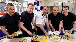 The firefighters enjoying the food that was paid for by a kind-hearted member of staff