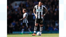Newcastle United's Yoan Gouffran appears dejected during the Sky Bet Championship match at Portman