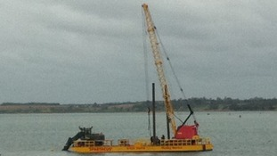 Recovery of WW2 missile from sea at Harwich