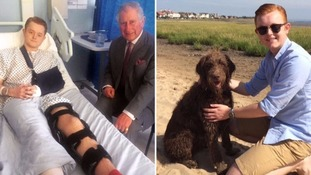 The university student, seen with Prince Charles and with his dog before the attack, said he appreciated the visit the royal visit.