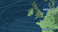 High pressure dominates the southern half of the UK midweek, weakening weather fronts as they try to edge in from the north