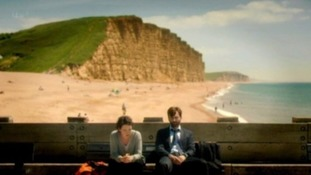 Miller and Hardy sat on bench in the final scene of Broadchurch