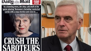 PM rejects Daily Mail's 'saboteurs' election headline after McDonnell criticises 'nasty' coverage
