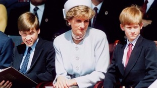 William and Harry as children with mother Princess Diana.