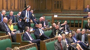 Tim Farron was heckled repeatedly from the SNP benches in front of him.