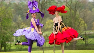 Lauren Green (left) wearing an Iris dress and Abi Moore (right) wearing a Poppy dress by Jenny Gillies.