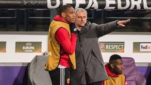 Martial (L) with Man Utd boss Mourinho