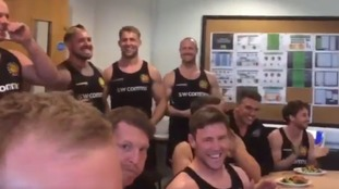 Exeter Chiefs watch the squad announcement on TV.