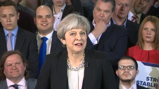 Theresa May speaking in Bolton