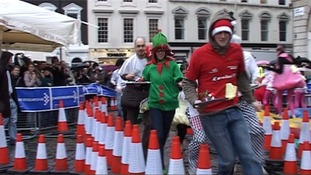 Pudding racers in Covent Garden
