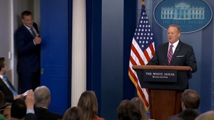 White House press briefing gatecrashed by NFL star