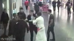 The brawl caught on CCTV.
