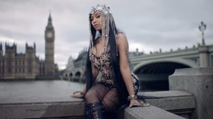 Singer Nicki Minaj was criticised for filming the video on Westminster Bridge.