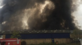The fire broke out at a Yodel delivery warehouse