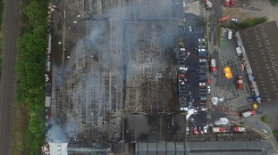 Drone captures extent of damage to warehouse fire declared 'major incident'