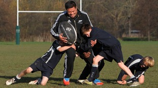 Keven Mealamu visited the West London Free School today to teach Year 8 pupils