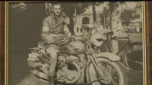 Alan Johnson on his motorcycle.