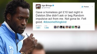 Ugo Ehiogu said he 'felt good' after giving money to a homeless girl.