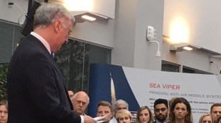 Sir Michael Fallon confirming the half billion pound missile contracts in Stevenage