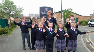 Pupils at Oak View Academy celebrate