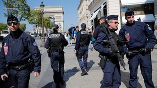 A heavy police presence on the Champs-Élysées on Friday.