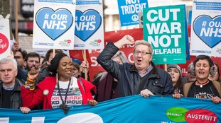 Len McCluskey, pictured during a protest in March.