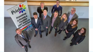 Mark Nichols, Chair of Northern Pride along with representatives from sponsors