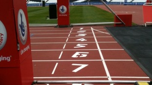 Close up view of finish line