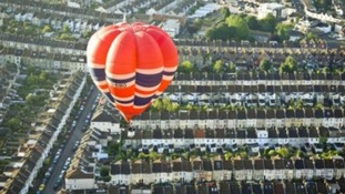 Balloon flying over Bristol streets