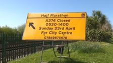 Road closures in Plymouth for Sunday's Half Marathon