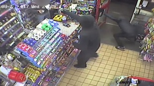 Terrifying knifepoint robbery at Dunstable shop captured on CCTV