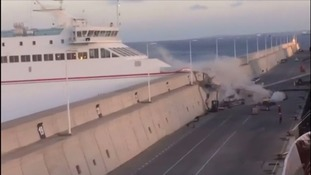 Thirteen injured as out of control ferry slams into port in Canary Islands