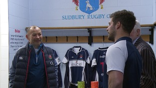 Eddie Jones (left) talks to Sudbury's Ben Scully.