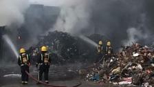 100 firefighters battle huge blaze at warehouse in Essex