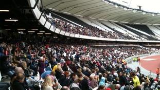 Inside stadium with large crowd