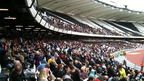 Inside stadium with large crowd