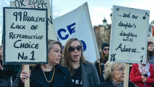 Three generations of Irish women during a Strike 4 Repeal campaign protest