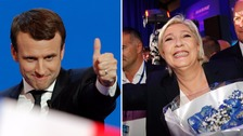 French election: 'Outsider' Macron beats Le Pen in first round