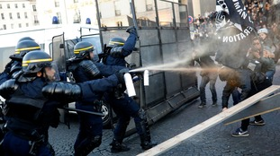 French election: Three arrested as protesters scuffle with police in Paris