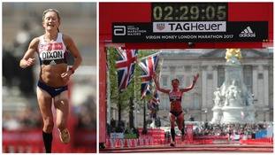 Great Britain's Alyson Dixon finishes the Women's Virgin Money London Marathon, London.