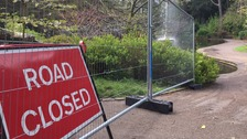 The pathway has been closed after a man was hit by a falling rock in Williamson Park.