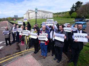 Victims and survivers held a march at Stormont on Monday.